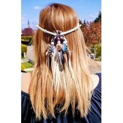 """Headband attrape rêves avec plumes naturelles et améthyste """"Pure love"""""""