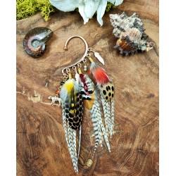 """Ear cuff plumes naturelles faisan et perroquet """"L'or de la jungle"""""""