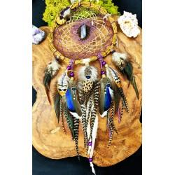 """Attrape rêves artisanal avec plumes naturelles et labradorite violette """"Flamme violette"""""""