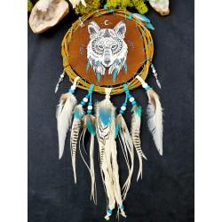 """Mandella bouclier de protection avec totem du loup """"Under the white moon"""""""