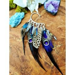 Ear cuff plumes naturelles avec opale et améthyste