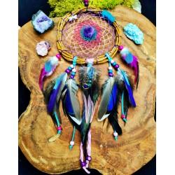 Attrape rêves artisanal rose et violet avec plumes naturelles et améthyste