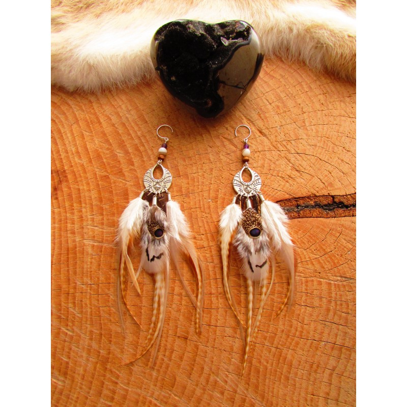 "Boucles d'oreilles ""White amazon"""