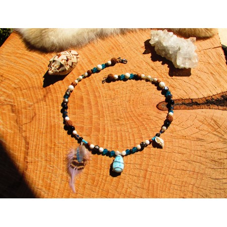 "Collier coquillage et larimar ""Sea of love"""