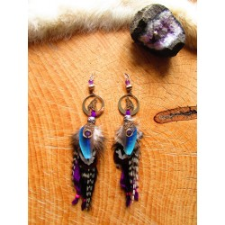 "Boucles d'oreilles ""Wolf in the river"""