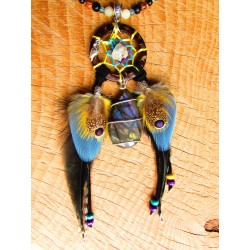 "Collier attrape rêves ""Rainbow parrot"""