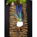 Eventail plumes à fumigation totem perroquet