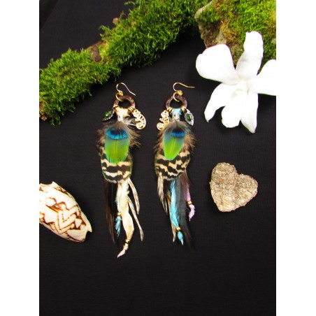 "Boucles d'oreilles plumes totem caméléon ""Savage dream""mes ""Color your life"""
