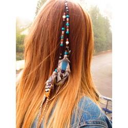"""Bijou de cheveux labradorite avec plumes naturelles """"Chic and wild"""""""