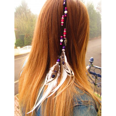 """Bijou de cheveux avec plumes naturelles """"Passion of love"""""""