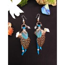 """Boucles d'oreilles opale et coquillage """"Blue mermaid"""""""