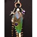 """Boucles d'oreilles plumes longues totem colibri """"Le colibri d'argent"""""""