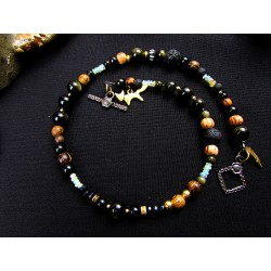 "Bracelet double ethnique opale et totem renard ""Golden fox"""