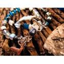 """Bracelet double ethnique apatite et quartz """"Le cerf d'argent"""""""