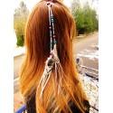 """Bijou de cheveux avec plumes naturelles """"Neige éternelle"""""""