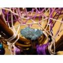 """Attrape rêves artisanal 3D avec aqua aura quartz """"La tannière du loup"""""""