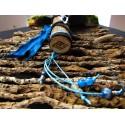 Eventail plumes à fumigation lapis lazuli et plumes de vautour