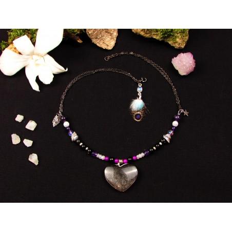 """Collier coeur obsidienne argentée """"La nuit des étoiles"""""""