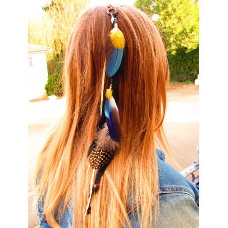 """Bijou de cheveux avec plumes naturelles """"Sun catcher"""""""