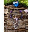 "Bracelet de cheville attrape rêves plumes "" Purple moon"""