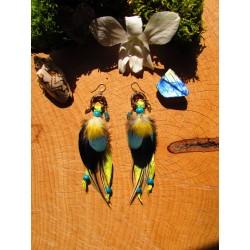 """Boucles d'oreilles plumes, apatite et opale """"Sunny day"""""""