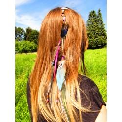 """Bijou de cheveux avec plumes naturelles étoile de mer """"Le sable étoilé"""""""