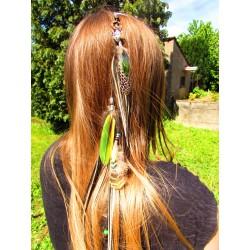 """Bijou de cheveux avec plumes naturelles et panthère """"Esprit de la jungle"""""""