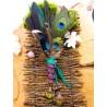 Eventail plumes à fumigation totem du paon et diopside