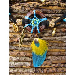 """Bracelet de cheville attrape rêves plumes """"Le perroquet d'or"""""""