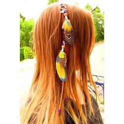 "Bijou de cheveux plumes naturelles ""Savana"""