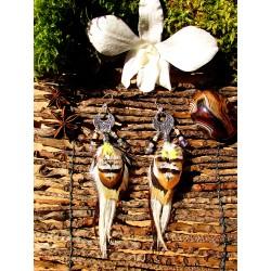 """Boucles d'oreilles plumes ethniques opale """"White dersert"""""""
