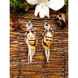 """Boucles d'oreilles plumes colibri """"Le printemps des roses"""""""