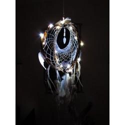 """Attrape rêves artisanal 3D améthyste et plumes de cygne """"Danse des cygnes"""""""