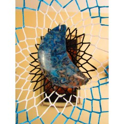 """Attrape rêves artisanal 3D avec ammonite """"Une vague arc-en-ciel"""""""