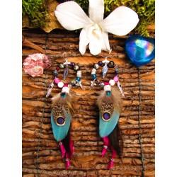 """Boucles d'oreilles créoles colibri et abalone """"Passion of flower"""""""