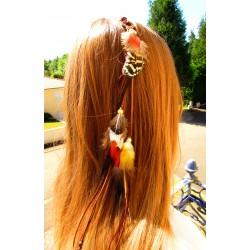 """Bijou de cheveux plumes naturelles """"L""""or ambré"""""""