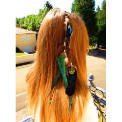 """Bijou de cheveux plumes naturelles totem paon """"Green forest"""""""