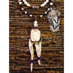 "Mala chamanique totem loup ""Angel wolf"""