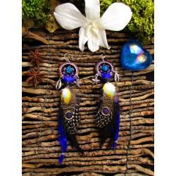 """Boucles d'oreilles plumes et turquoise """"Elixir de roses"""""""