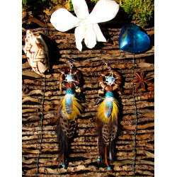 """Boucles d'oreilles attrape rêves totem coyote """"Wild earth"""""""