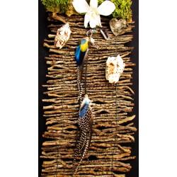 """Bijou de cheveux plumes naturelles abalone et opale """"Sunset ocean"""""""