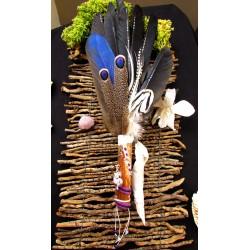 Eventail plumes à fumigation plumes corbeau et perroquet et dragon
