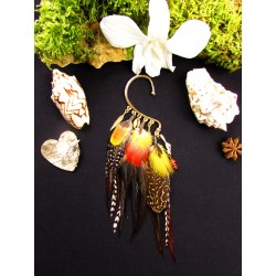 "Ear cuff plumes naturelles renard ""L'or rouge"""