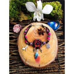 """Bracelet de cheville ethnique plumes tourmaline rose """"L'étang aux libellules"""""""