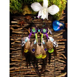 Attrape rêves artisanal hibou, plumes paon, améthyste et chrysoprase