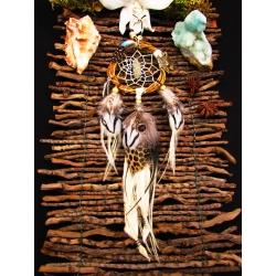 "Petit Attrape rêves artisanal pyrite, totem lynx ""Dunes blanches"""