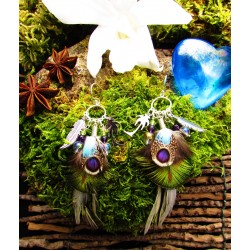 "Boucles d'oreilles plumes ""Coco green"""