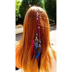 """Bijou de cheveux plumes naturelles totem libellule """"Le lagon rose"""""""