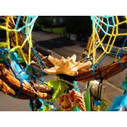 """Attrape rêves artisanal 3D totem étoile de mer et labradorite """"La lumière de l'océan"""""""