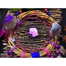 """Attrape rêves artisanal bois calcite rose et totem papillon """"Enjoy freedom"""""""